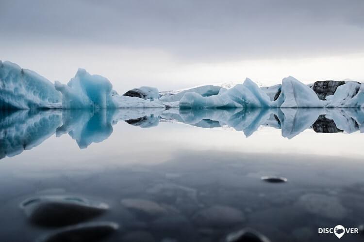 Jökulsárlón Icebergs Reflection Glacier Lagoon Iceland